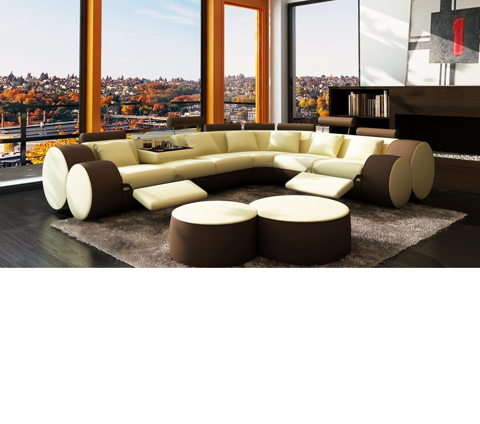Dreamfurniture Com 3087 Modern Beige And Brown Leather