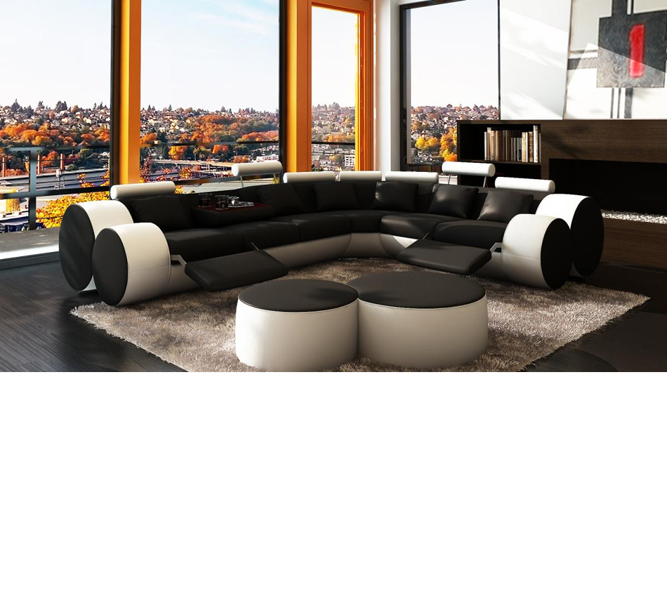 3087 modern white and black leather for White modern leather sofa