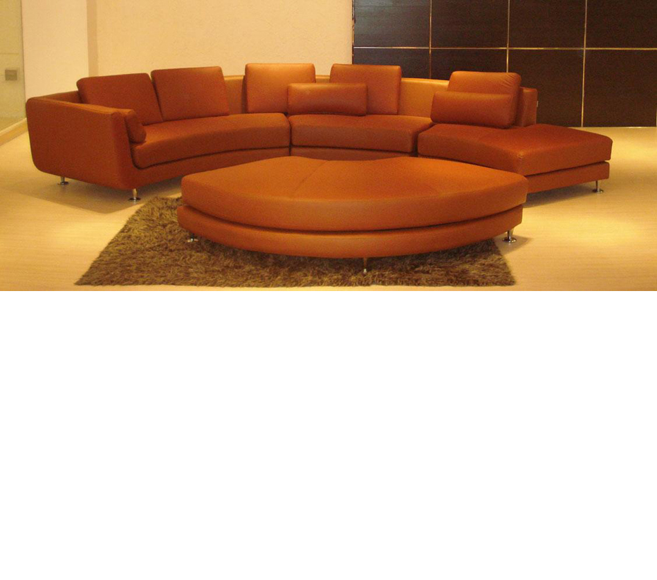 Brown Leather Sectional With Ottoman Dreamfurniture Divani Casa A94 Contemporary