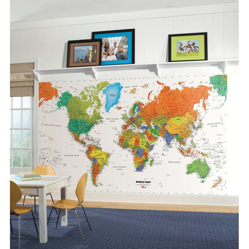 World Map Chair Rail Prepasted Mural