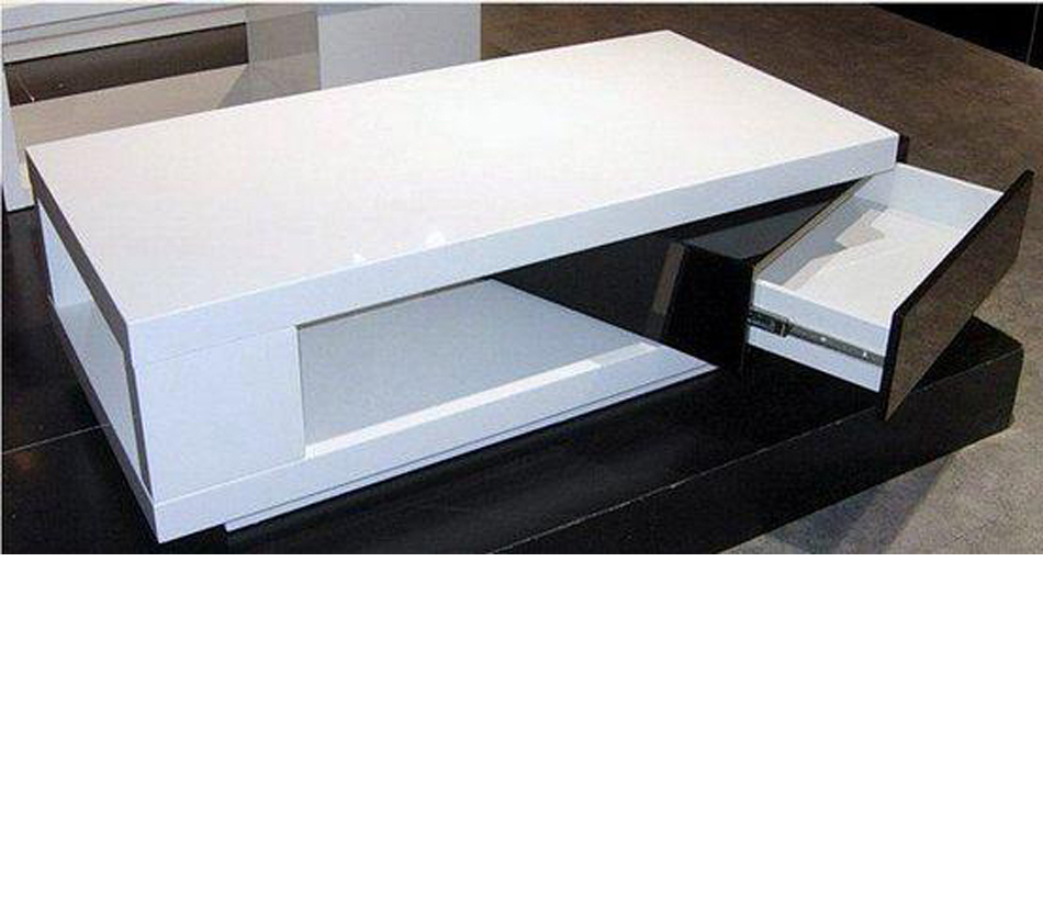 5010c Modern White And Black Coffee Table