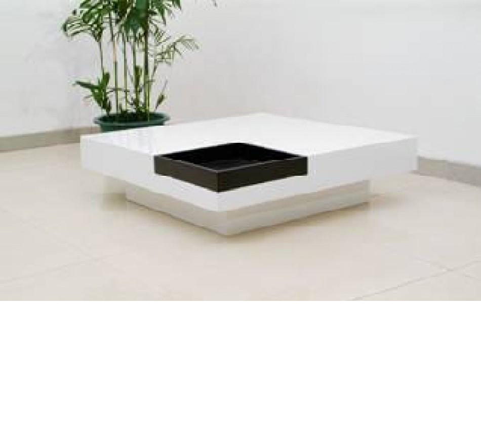 59006 Modern White And Black Coffee Table