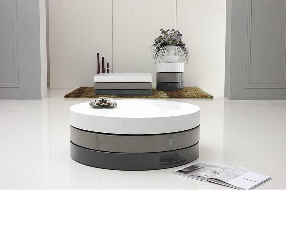 Dreamfurniture Com Trio 3 Lacquer 3 Tone Round Coffee