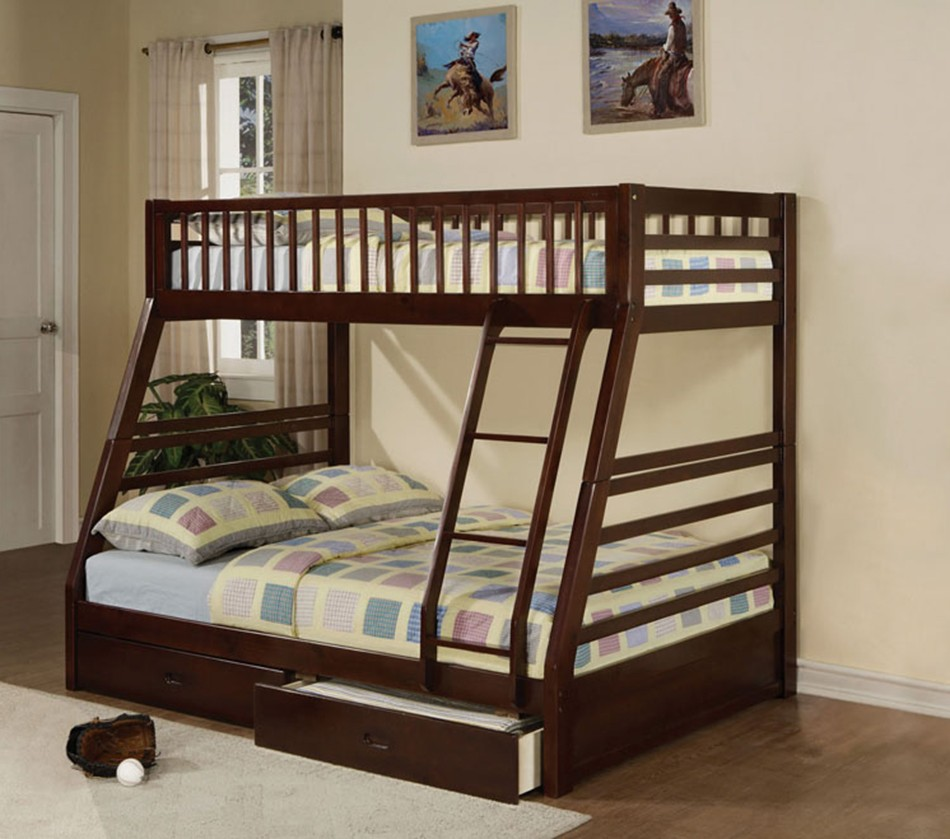 Dreamfurniture Com Jason Espresso Finish Twin Full Bunk