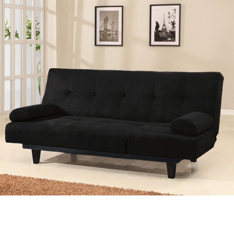 05855 Cybil Black Microfiber Adjustable Sofa W Pillows Set