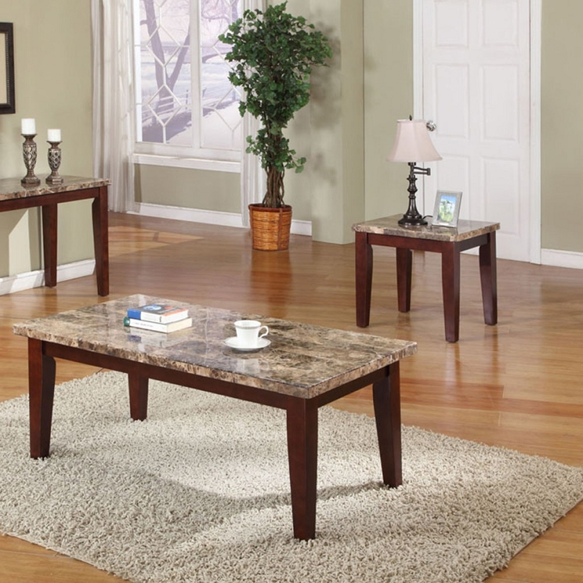 granada brown marble top coffee end table set. Black Bedroom Furniture Sets. Home Design Ideas