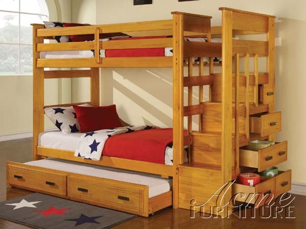 Honey Oak Twin Bunk Beds With Storage