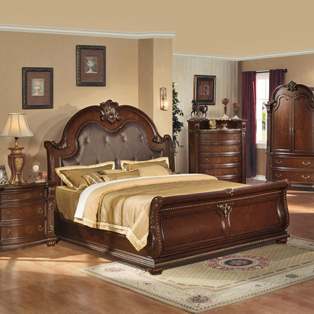 Anondale Brown Cherry Sleigh Bedroom Set