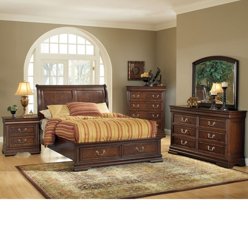 Dreamfurniturecom hennessy brown cherry bedroom set w for Brown bedroom sets