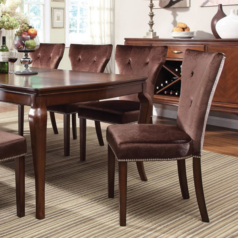 Andrea Cherry Finish Formal Dining Room Table Set: Kingston Brown Cherry Finish Dining
