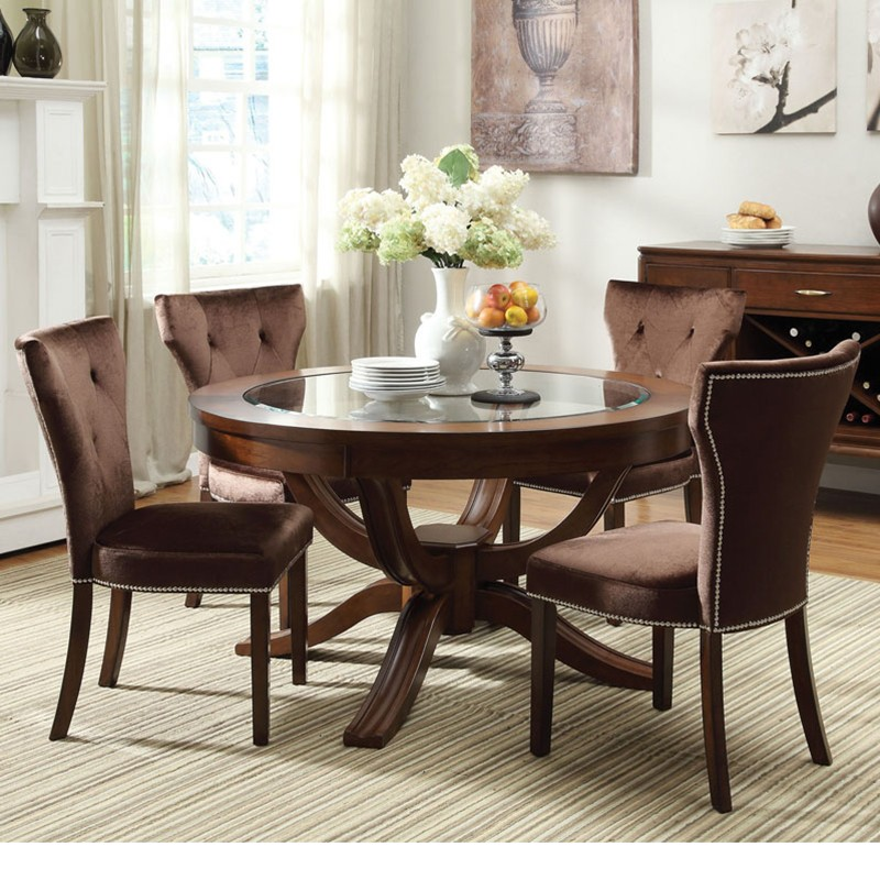 com kingston brown cherry finish glass top pedestal dining set