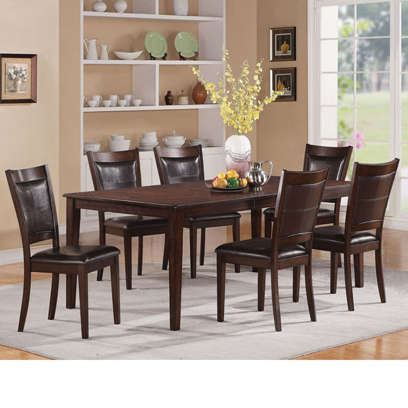 waller dark walnut finish dining table set