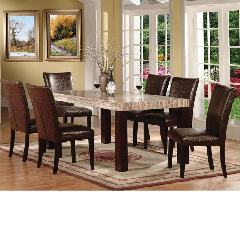 Fraser faux marble top dining table set for Marble dining room table