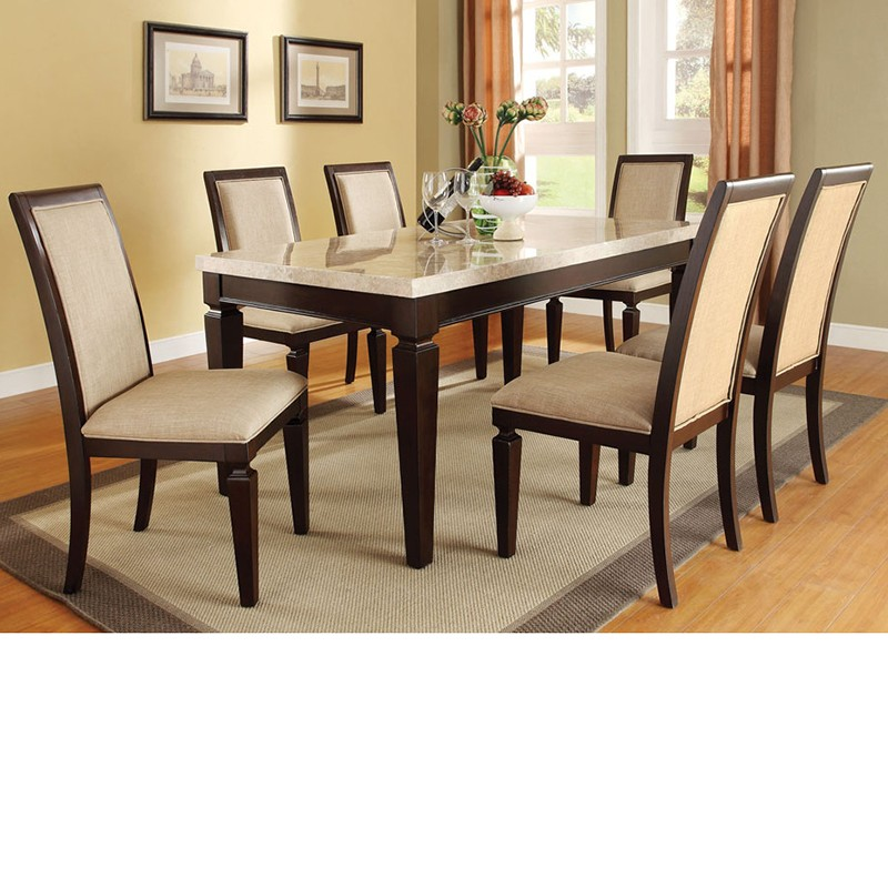 Agatha White Marble Top Dining Table Set