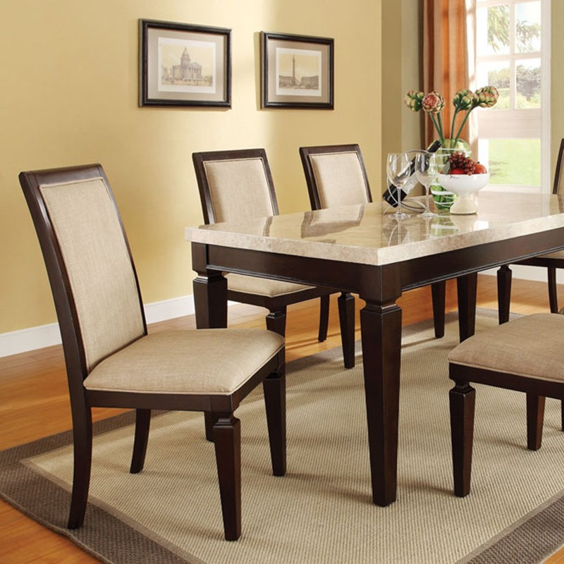 Dreamfurniture Com Agatha White Marble Top Dining Table Set