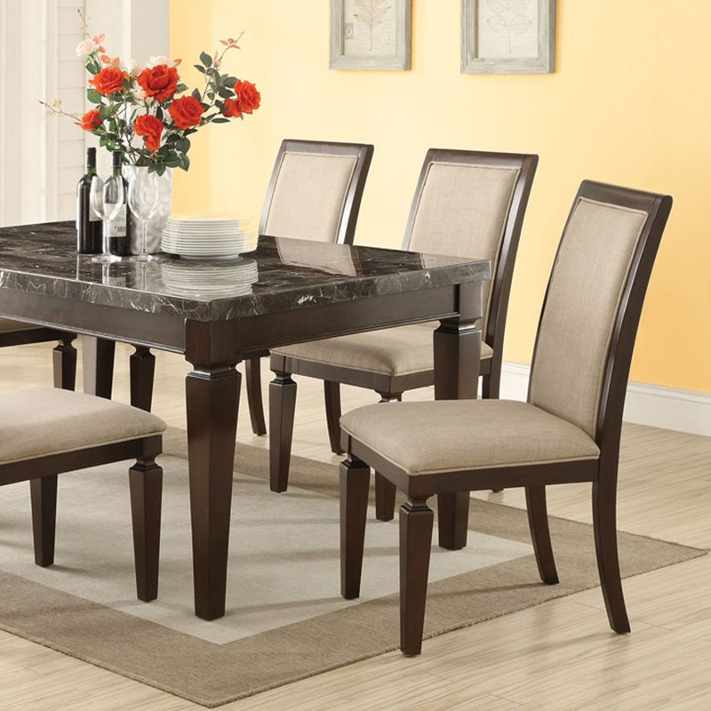 Agatha black marble top dining table set Black marble dining table set