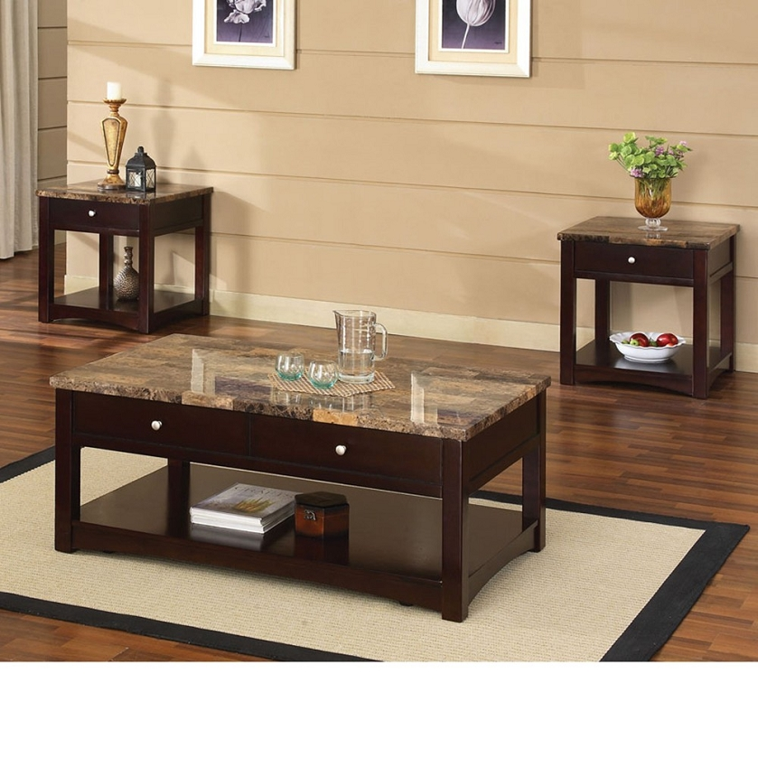 Jas Espresso Finish Coffee End Table W Faux Marble Lift Top Set