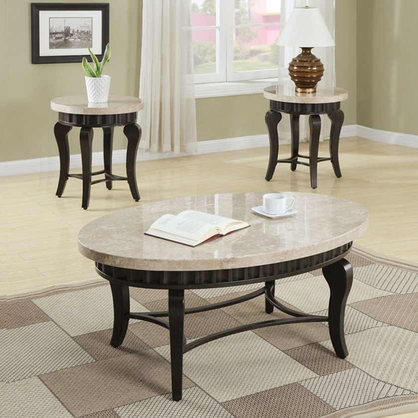 Marque Genuine Marble Top Coffee Table: Galiana Brown Marble Top Coffee/End