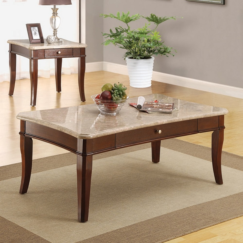White Marble Coffee Table Set: Britney White Marble Top Coffee/End
