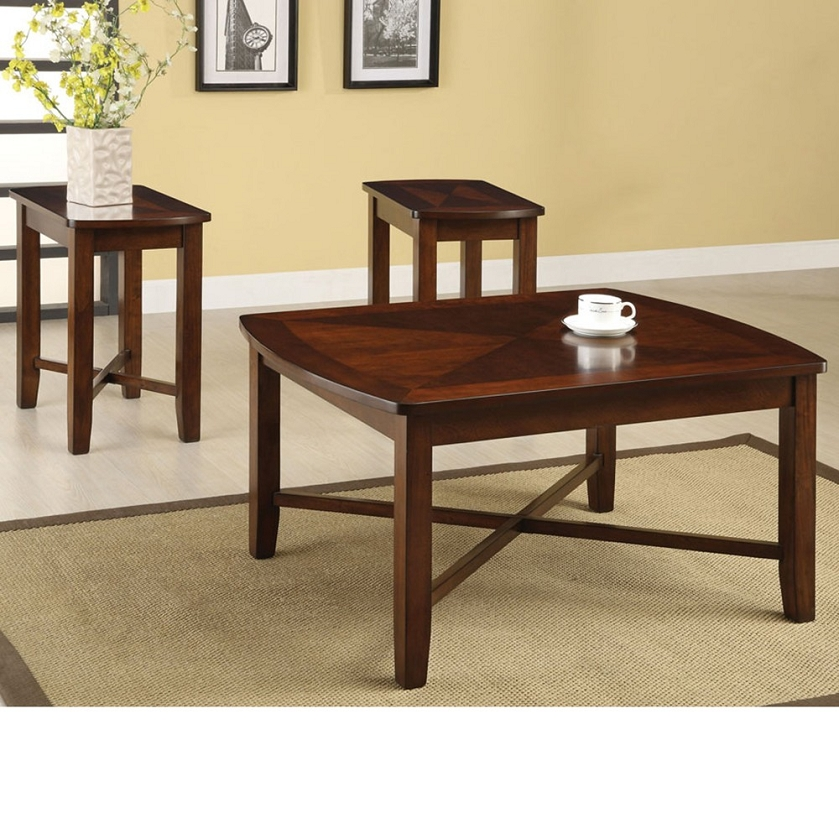 Naren Dark Cherry Finish 3pc PACK Coffee End Table Set