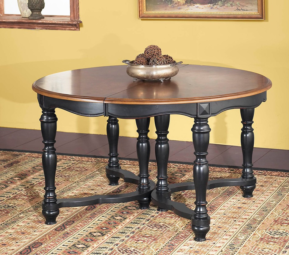 Sonoma two tone round extension table for Round extension dining table