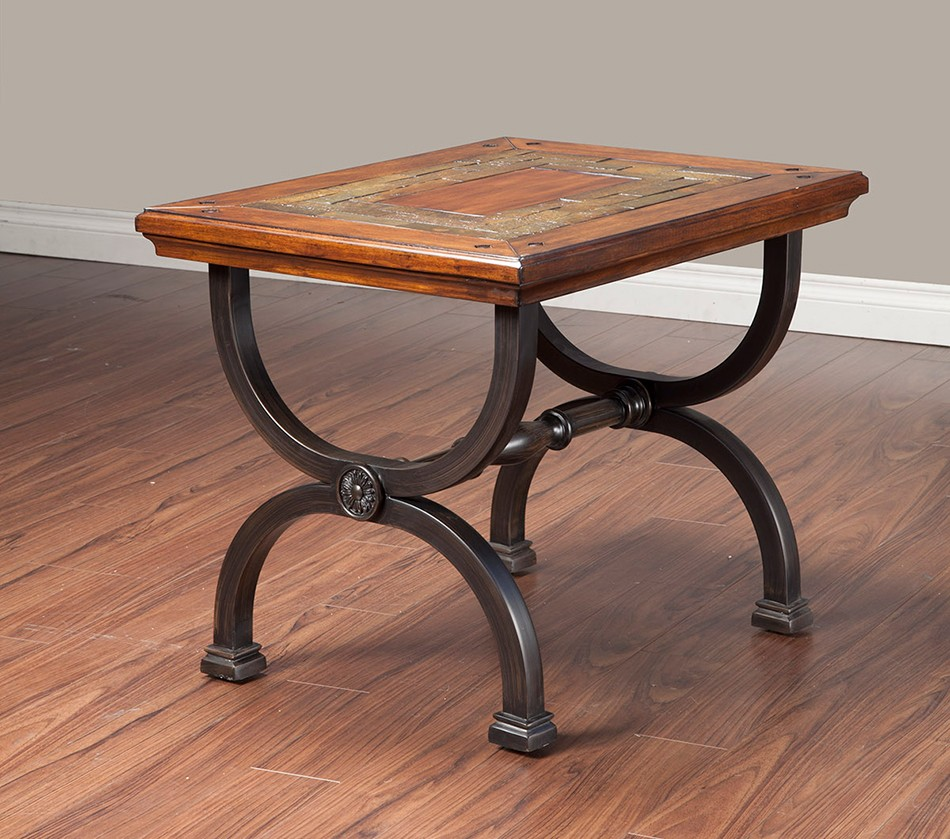 Metal Coffee Table With Slate Tiles: Milford End Table With Natural Slate