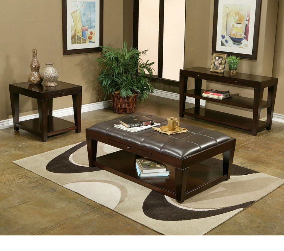 Leather Coffee Table With Tray: Wilmington Faux Leather Cocktail
