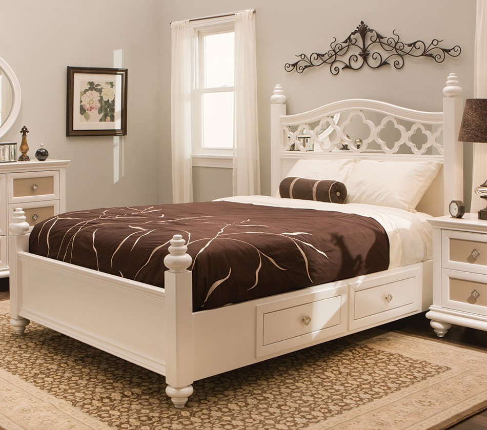 DreamFurniture.com - Paris Youth Panel Bedroom Set Pearl For Teenagers