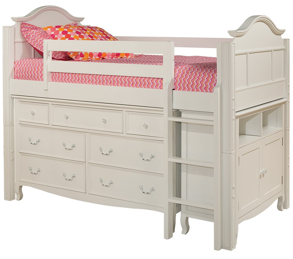 Emma twin loft bed with 7 drawer dresser and media storage cabinet - Loft bed with drawers underneath ...