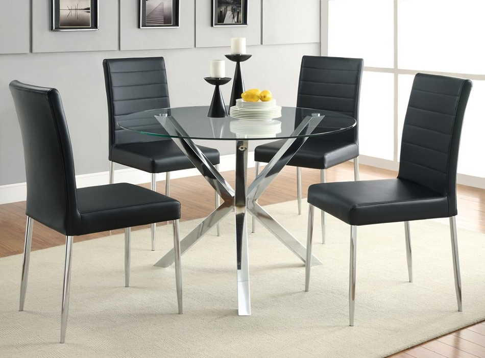 DreamFurniturecom 120760 5 Piece Round Glass Top Dining  : 120760 120767blk from www.dreamfurniture.com size 950 x 702 jpeg 354kB