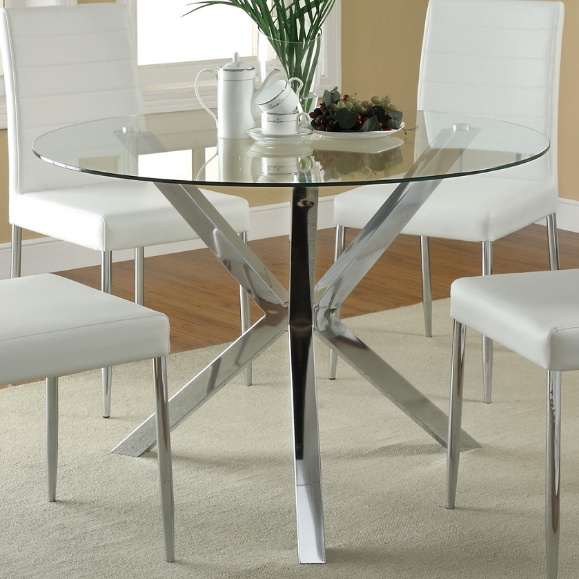 120760 round glass top dining table for Glass top dining table sets