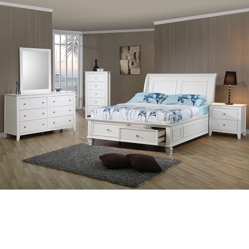 com sandy beach storage bed bedroom set in white finish