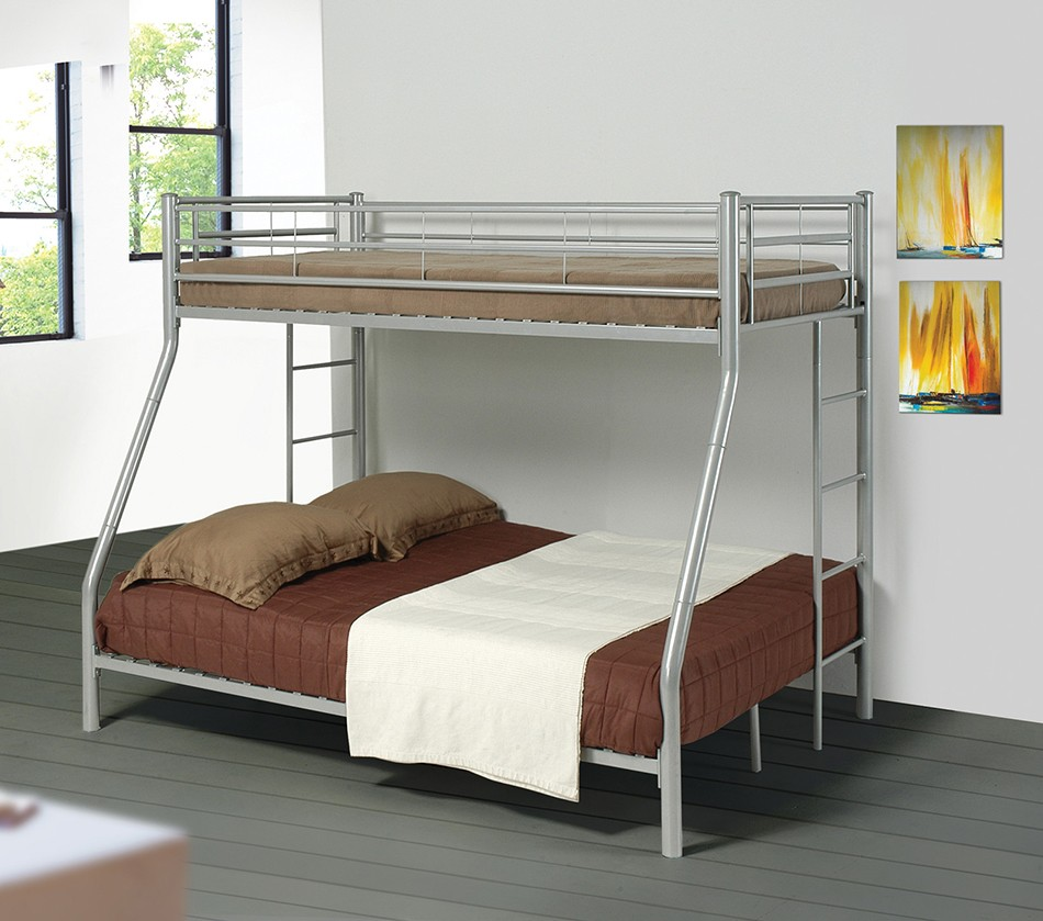Dreamfurniture Com Denley Metal Twin Over Full Bunk Bed
