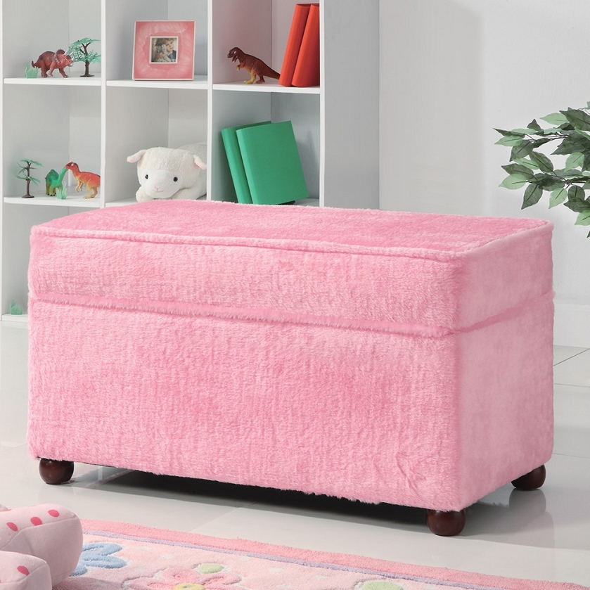 Storage Bench In Fuzzy Pink Fabric By Coaster 460451