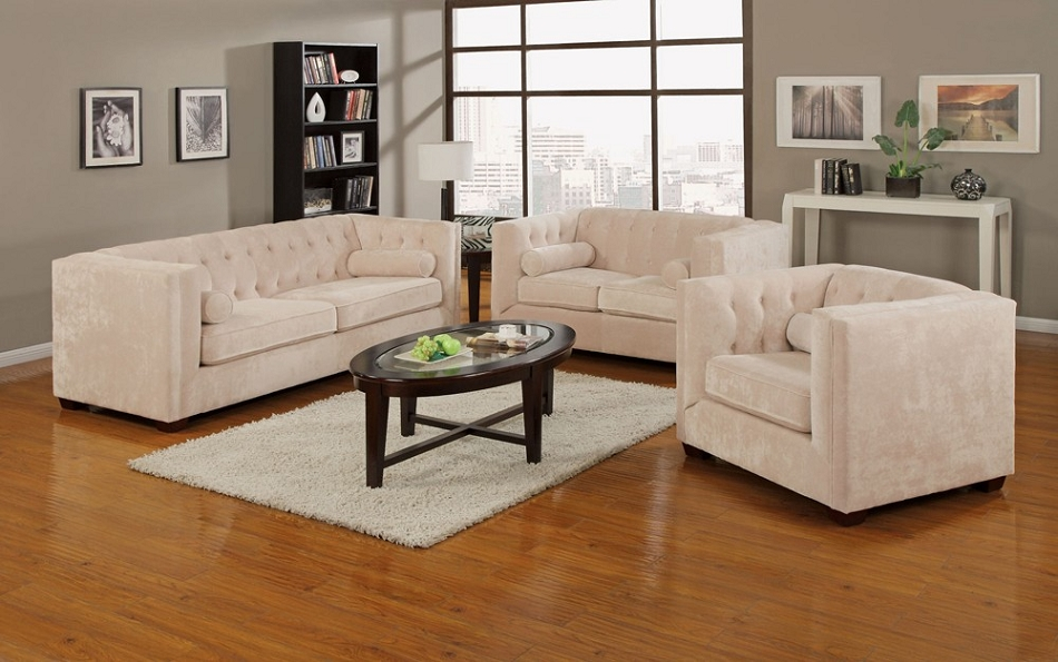 Beau 504391 Alexis Transitional Chesterfield Sofa Set