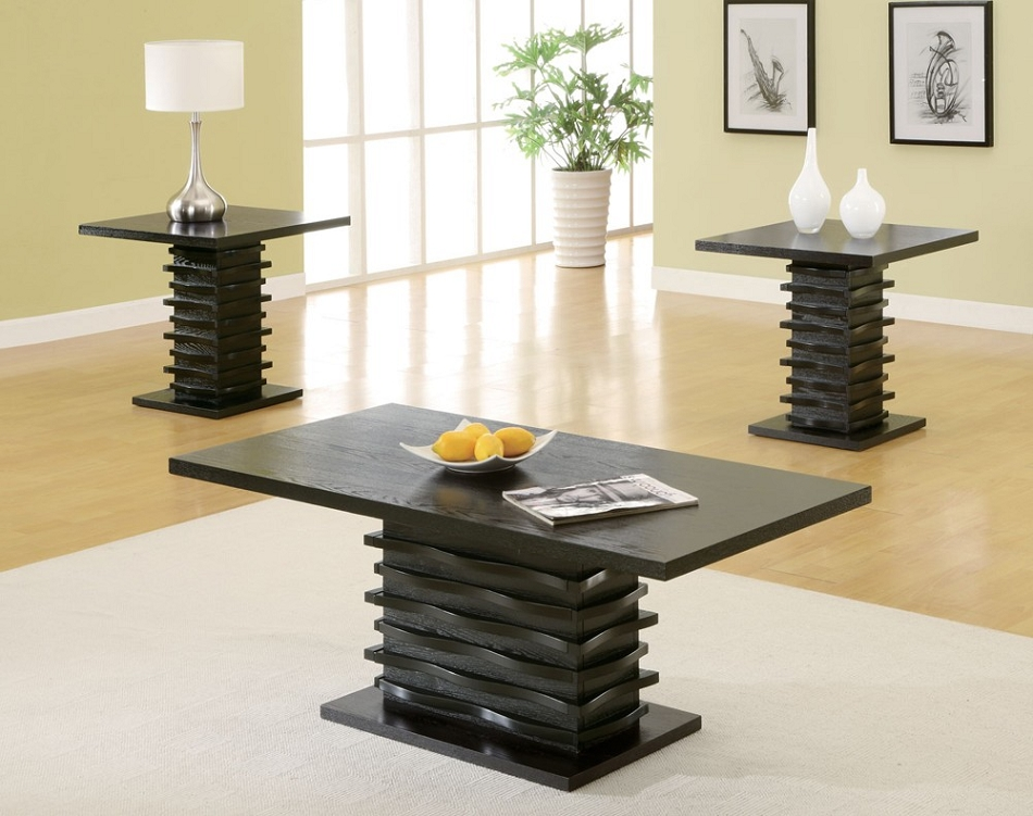 701514 Contemporary 3 Piece Coffee Table And End Table Set