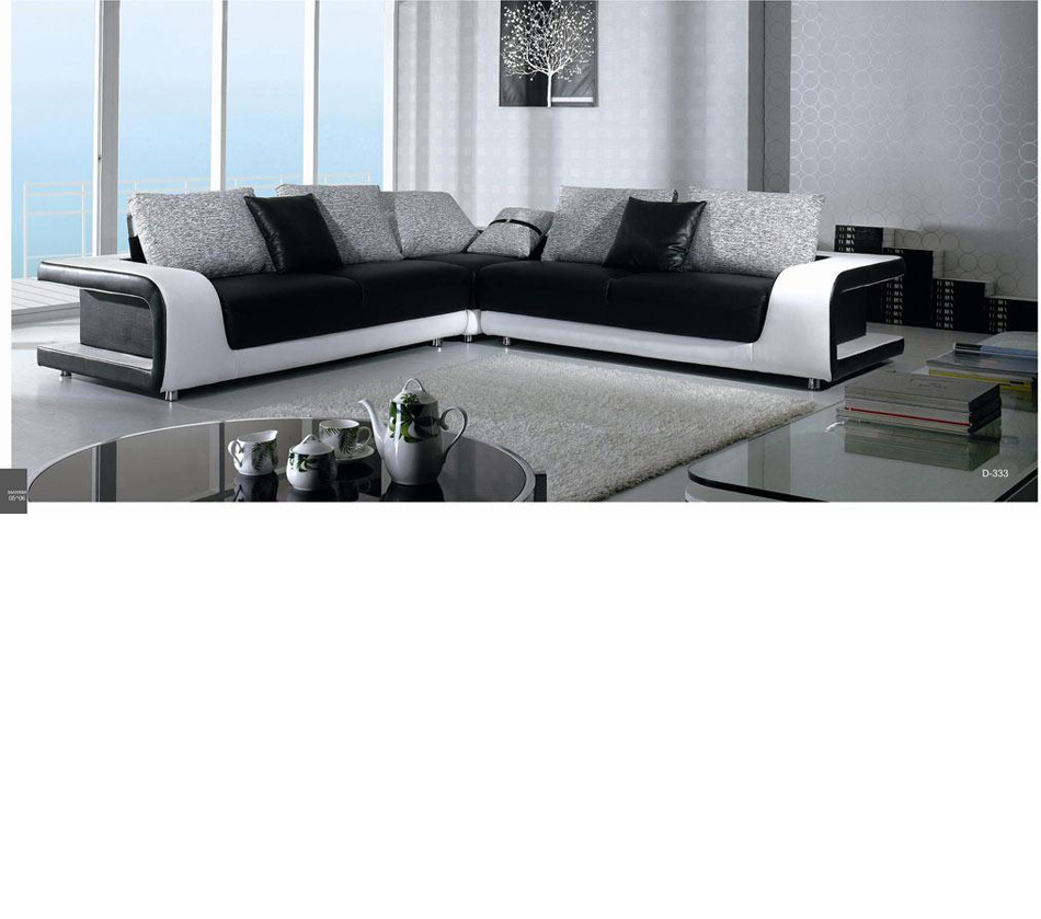 divani casa b333 contemporary leather fabric sectional sofa. Black Bedroom Furniture Sets. Home Design Ideas