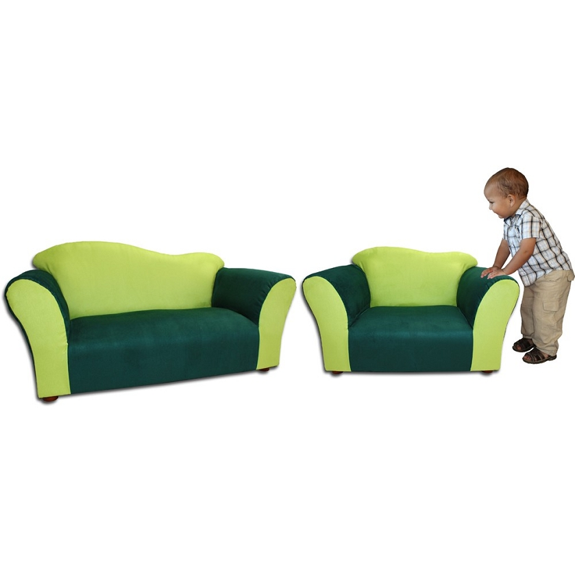 Fantasy Furniture Sofa And Chair Wave Set Green Microsuede