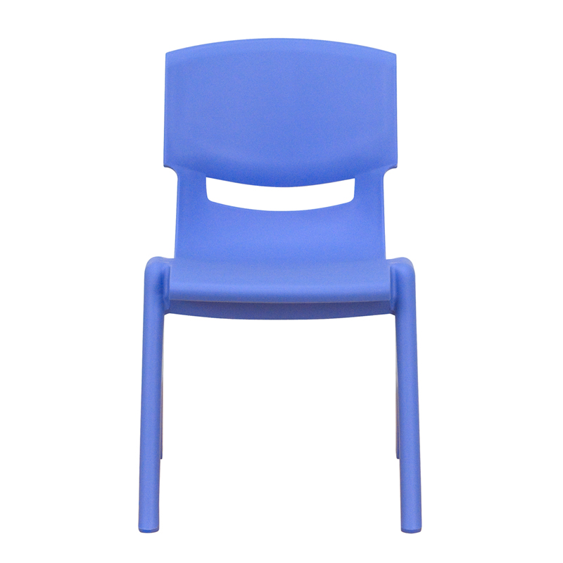 blue plastic stackable school chair