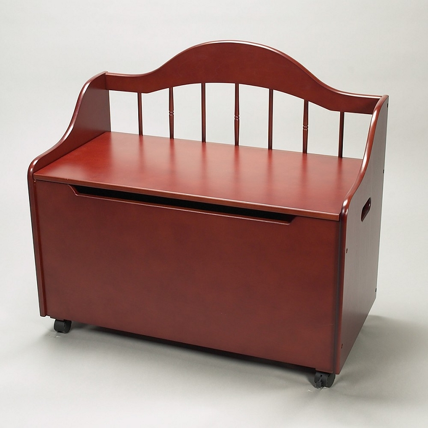 4025c Deacon Bench Styled Toy Chest On Casters Cherry