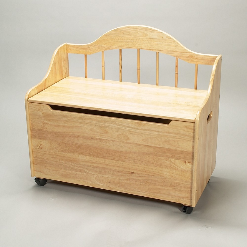 ... & Storage > 4025N Deacon Bench Styled Toy Chest on Casters - Natural