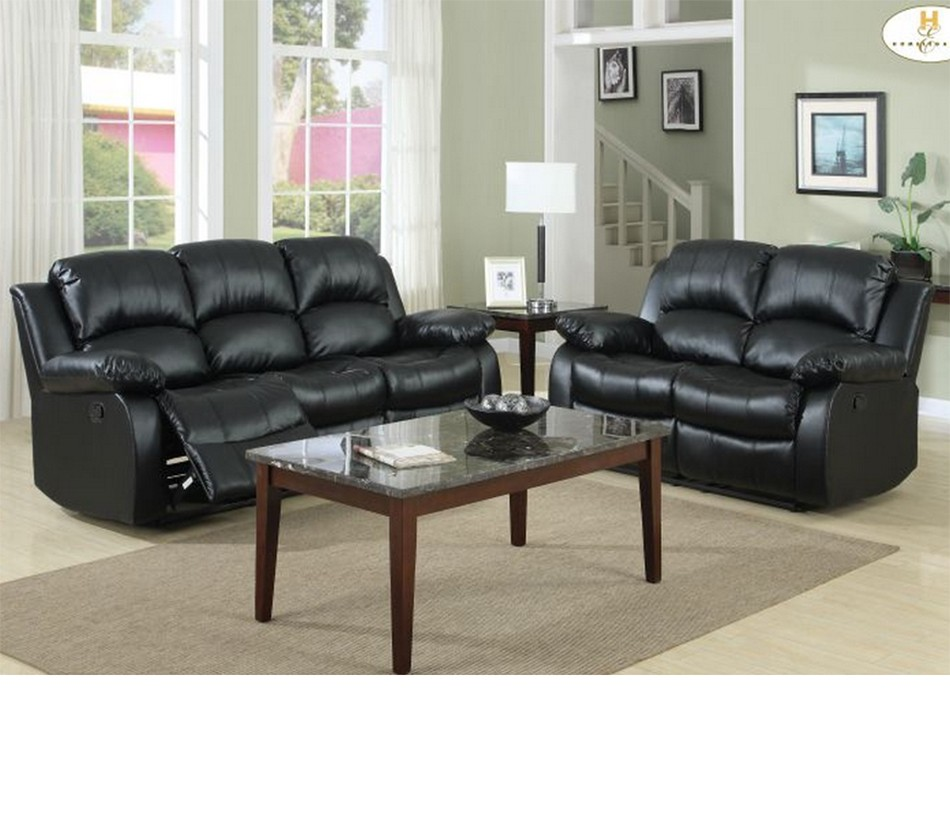 dreamfurniture com 9700 cranley recliner sofa set black
