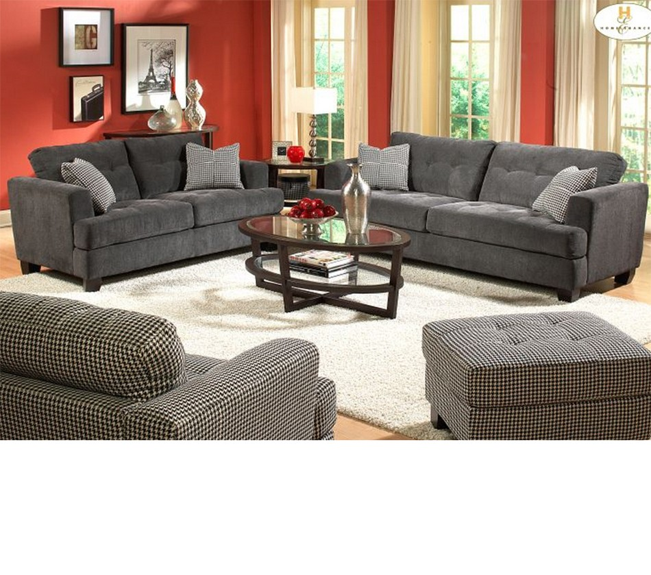 Sectional Gray Sofa Set: 9856 Maya Sofa Set Gray