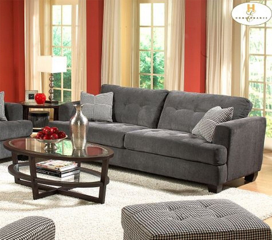 Dreamfurniture Com 9856 Maya Sofa Set Gray