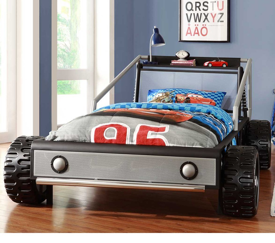 Track Silver Twin Race Car Bed Silver