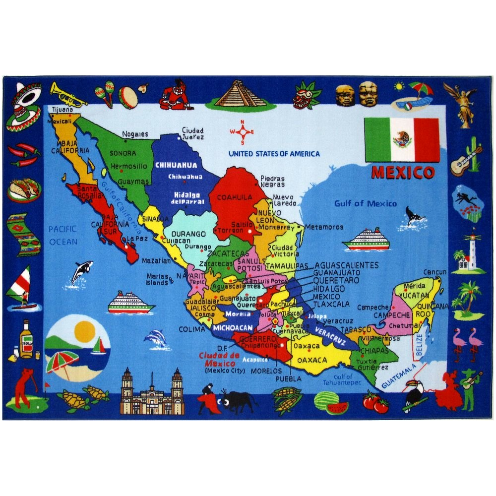 La Rugs Map Of Mexico Rug