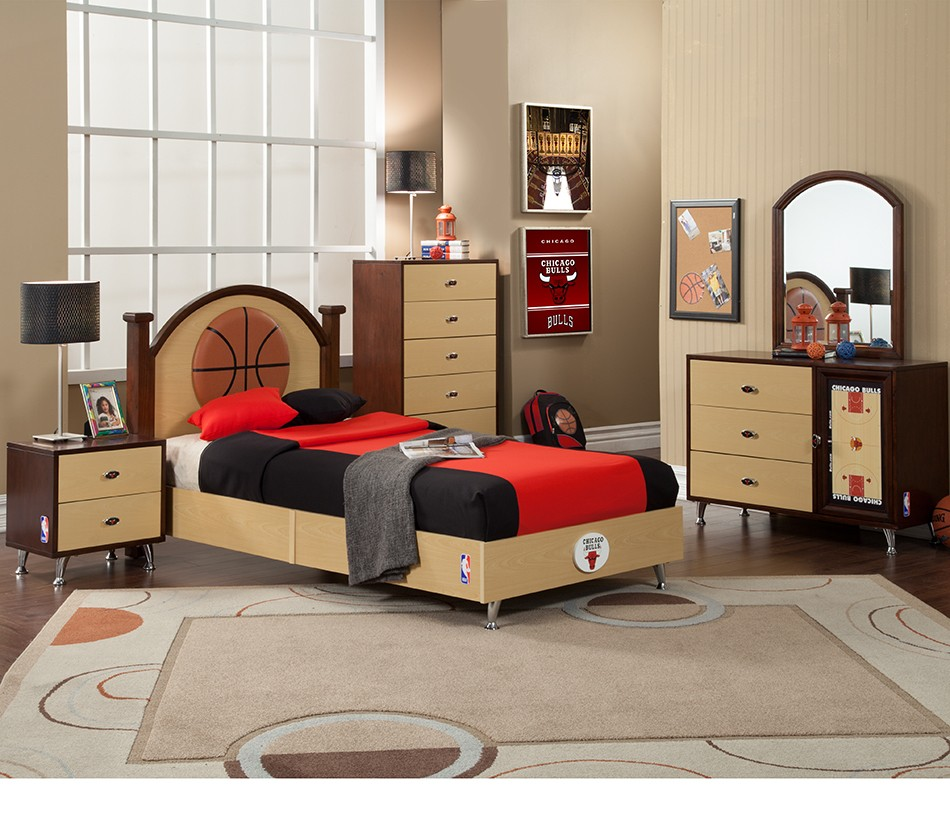 Nba basketball chicago bulls bedroom for Bedroom decor sets