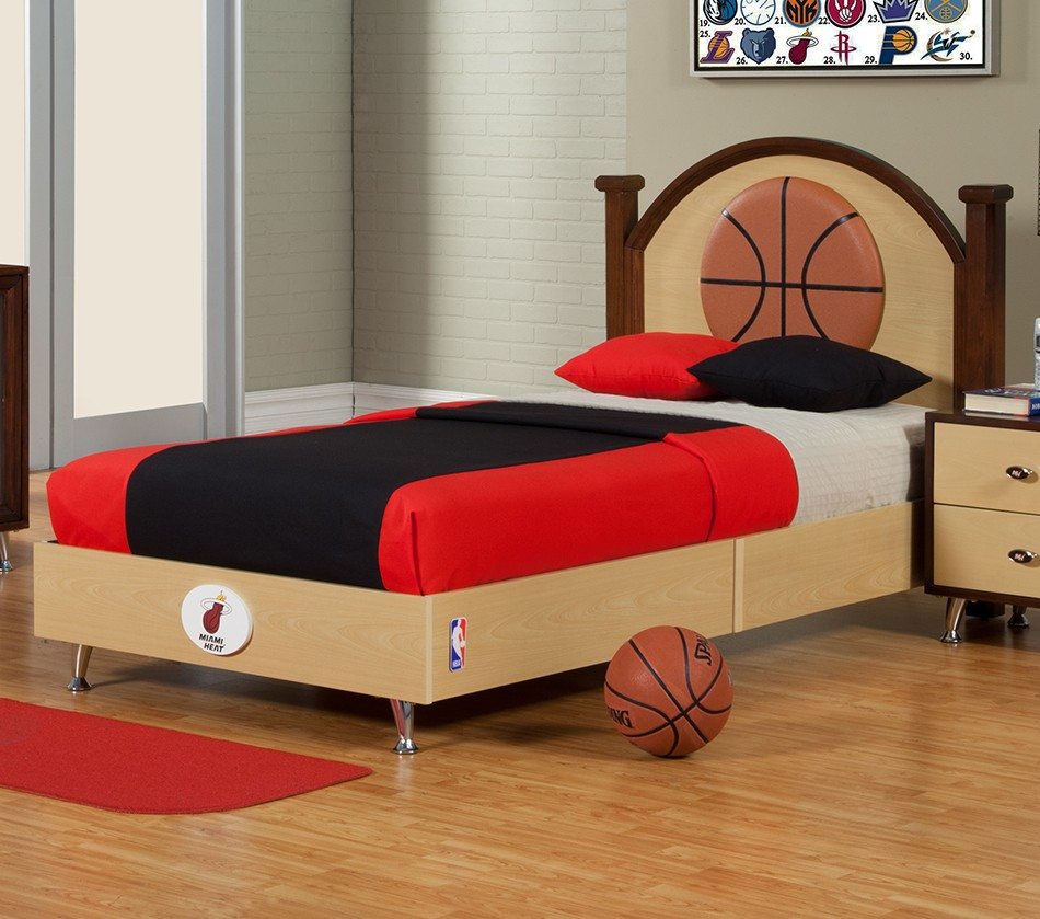 NBA Basketball Miami Heat Twin Bed. DreamFurniture com   NBA Basketball Miami Heat Twin Bed