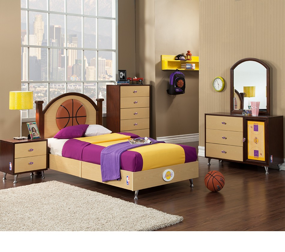 NBA Basketball Los Angeles Lakers Bedroom In A Box. DreamFurniture com   NBA Basketball Los Angeles Lakers Bedroom In