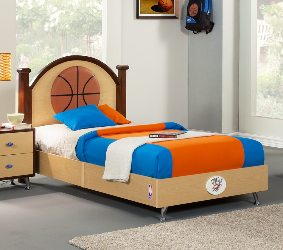 Nba Basketball Oklahoma Thunder Twin Bed Bedroom Sets  Basketball Bedroom  Furniture Decoration Natural Decorations in. Basketball Bedroom Sets